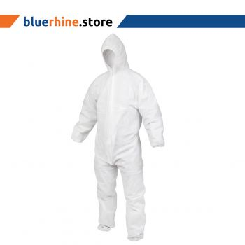 Disposable Coverall(Non Woven) white with hood and elastic wrist 40 GSM / XL